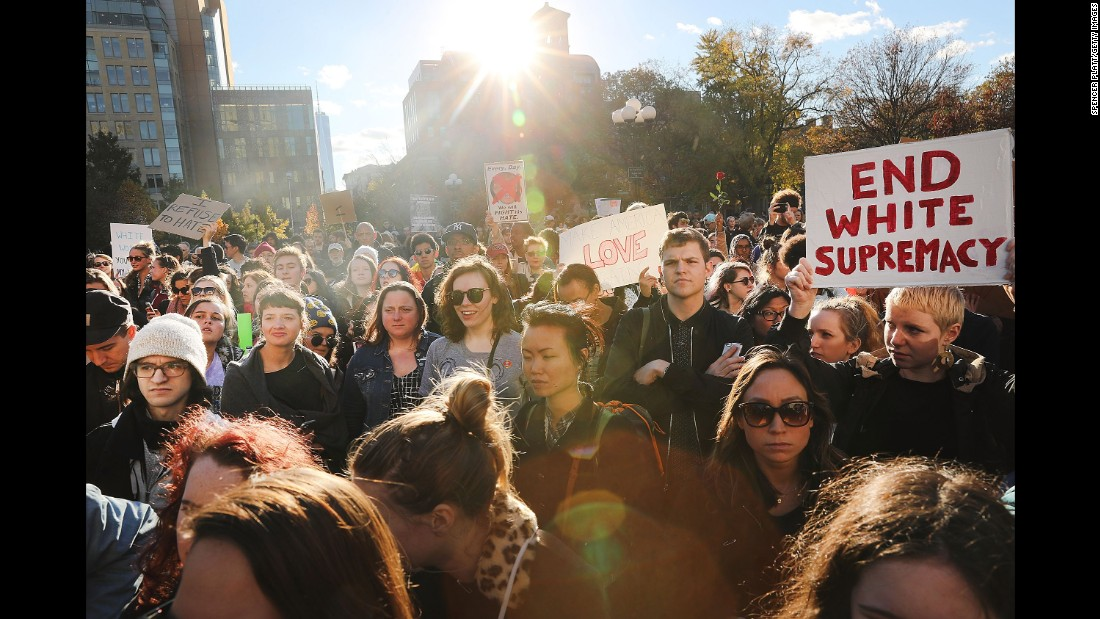 Hundreds of Trump protesters hold a demonstration in New York's Washington Square Park on November 11.