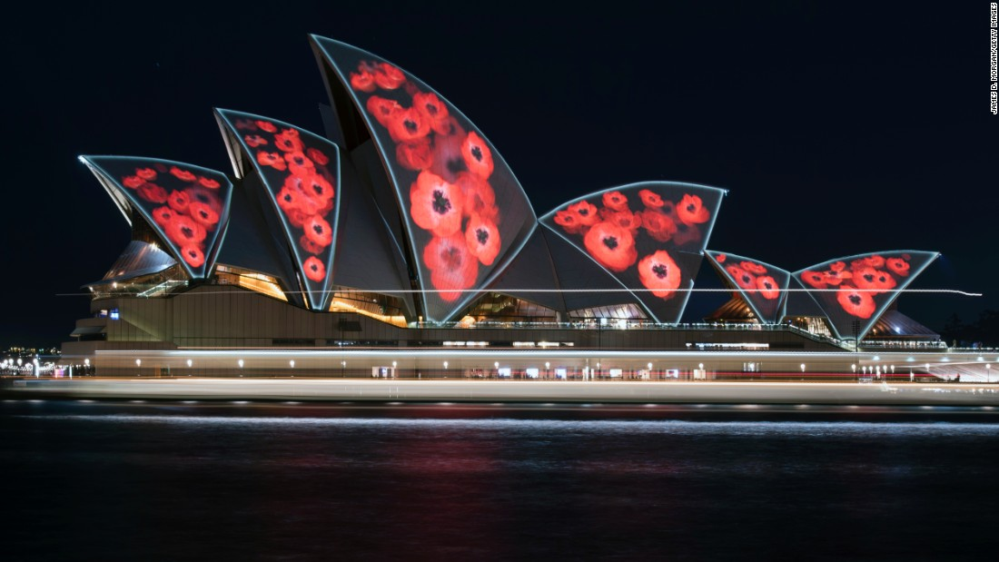 Poppies are projected onto the sails of the world famous Opera House on November 11 in Sydney, Australia. This year marks the 98th anniversary of the Armistice which ended the First World War.