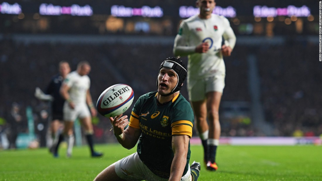 Johan Goosen's late try isn't enough to deny England victory.