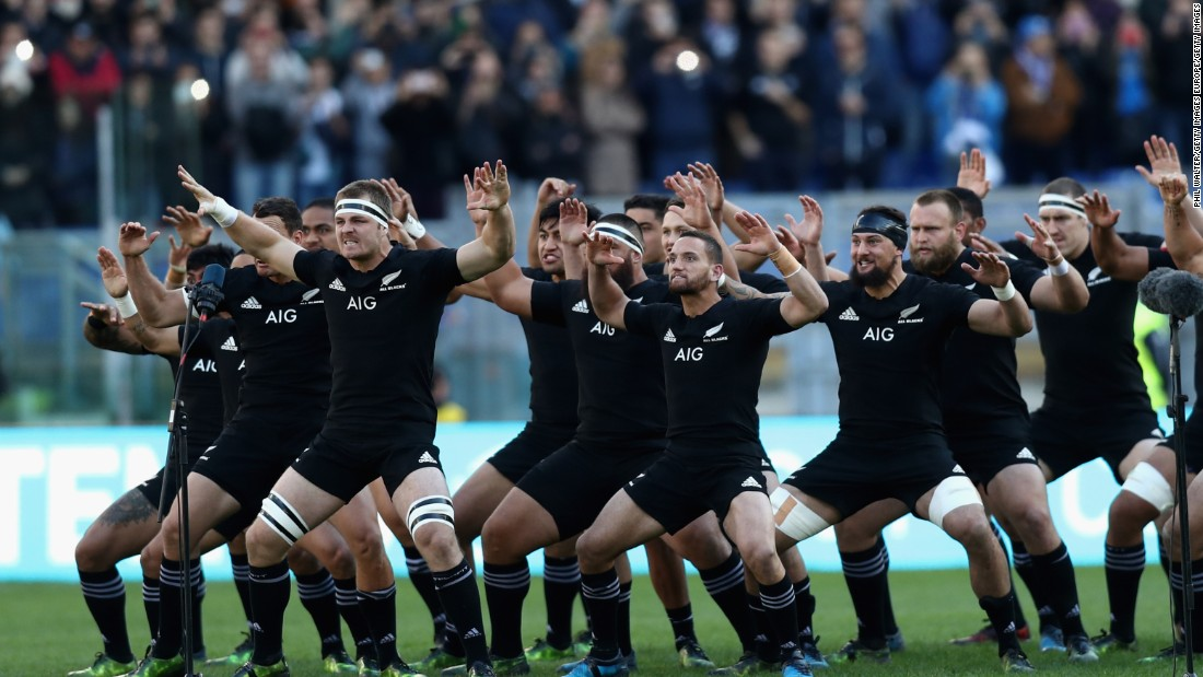 The New Zealand All Blacks perform the haka before inflicting a heavy defeat on Italy in Rome.