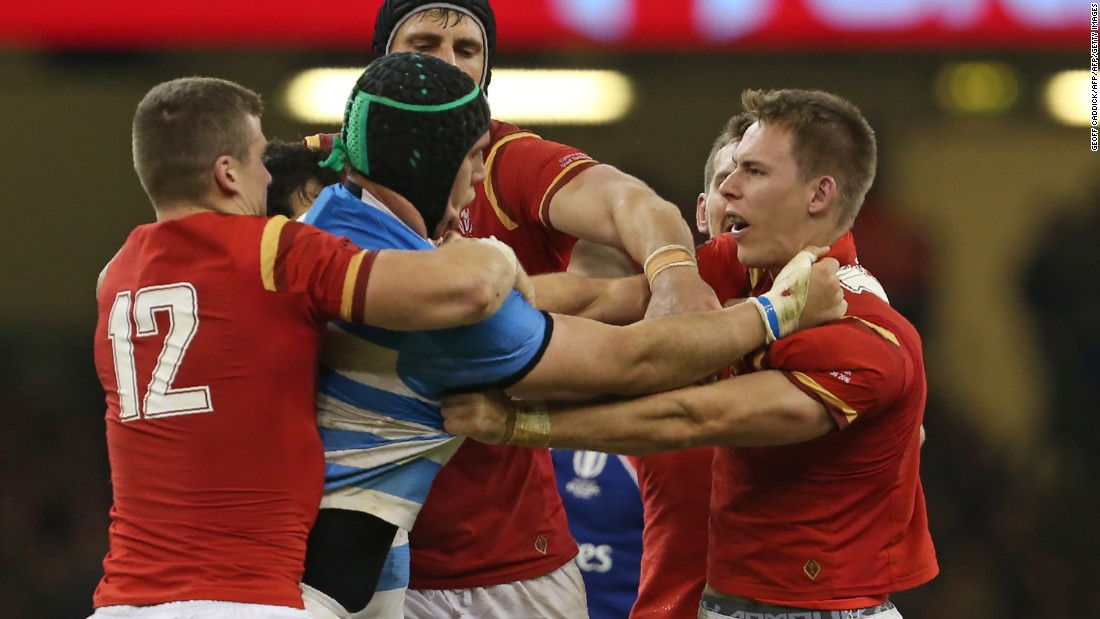 Players clash during the match between Wales and Argentina in Cardiff.