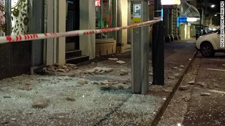 Damage on a Wellington street after the quake.