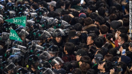 Riot police blocked roads to South Korea's presidential palace.