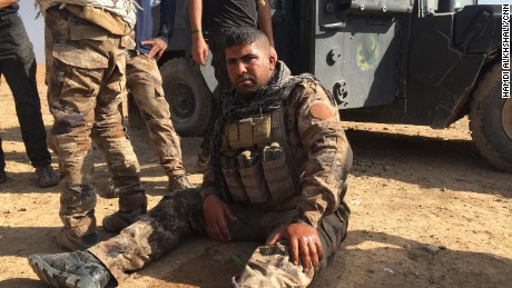 A shocked Iraqi soldier -- he said an ISIS suicide car bomb detonated near his Humvee.