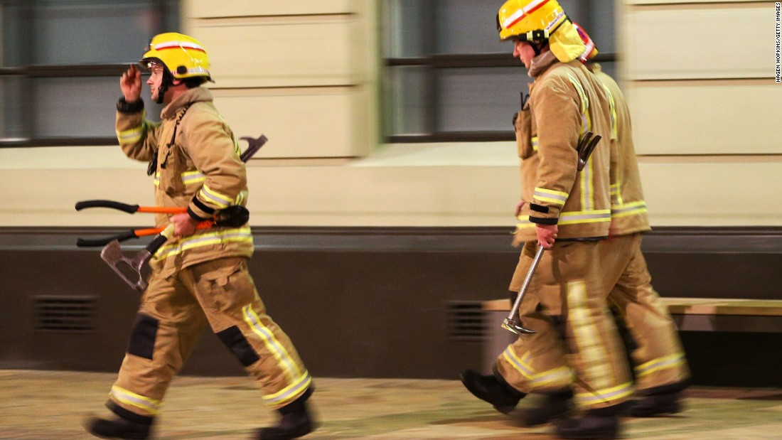 Firefighters respond to a call in Wellington, New Zealand, in the early hours of November 14.