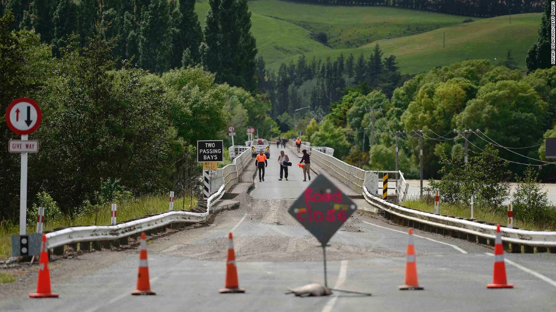 Emergency services inspect a bridge crossing the Waiau River, north of Christchurch, on November 14.