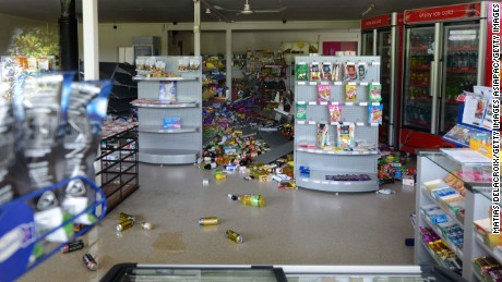 WAIAU, NEW ZEALAND - NOVEMBER 14:  A supermarket in Waiau, 120 kms north of Christchurch, shows damage in the aftermath of a 7.5 magnitude earthquake on November 14, 2016 in Waiau, New Zealand. The 7.5 magnitude earthquake struck 20km south-east of Hanmer Springs at 12.02am and triggered tsunami warnings for many coastal areas. (Photo by Matias Delacroix/Getty Images)