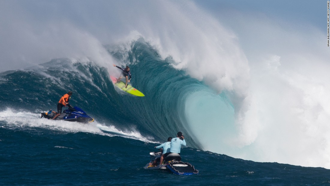 "Hawaiian surfer Paige Alms wins the first ever women's event at the giant Maui wave known as ""Jaws."""