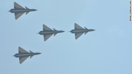 Chinese J-10 fighter jets perform at Airshow China in Zhuhai in November 2016