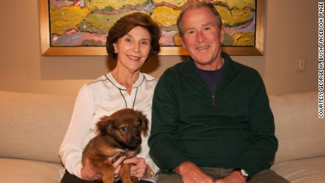 George W. Bush adopts a puppy