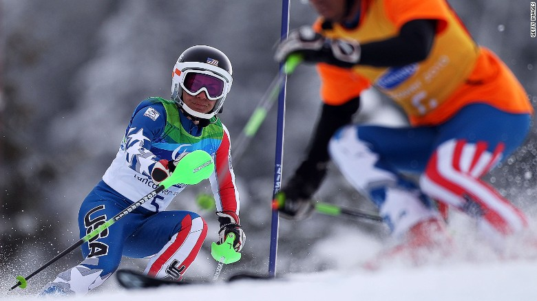 This professional skier is blind