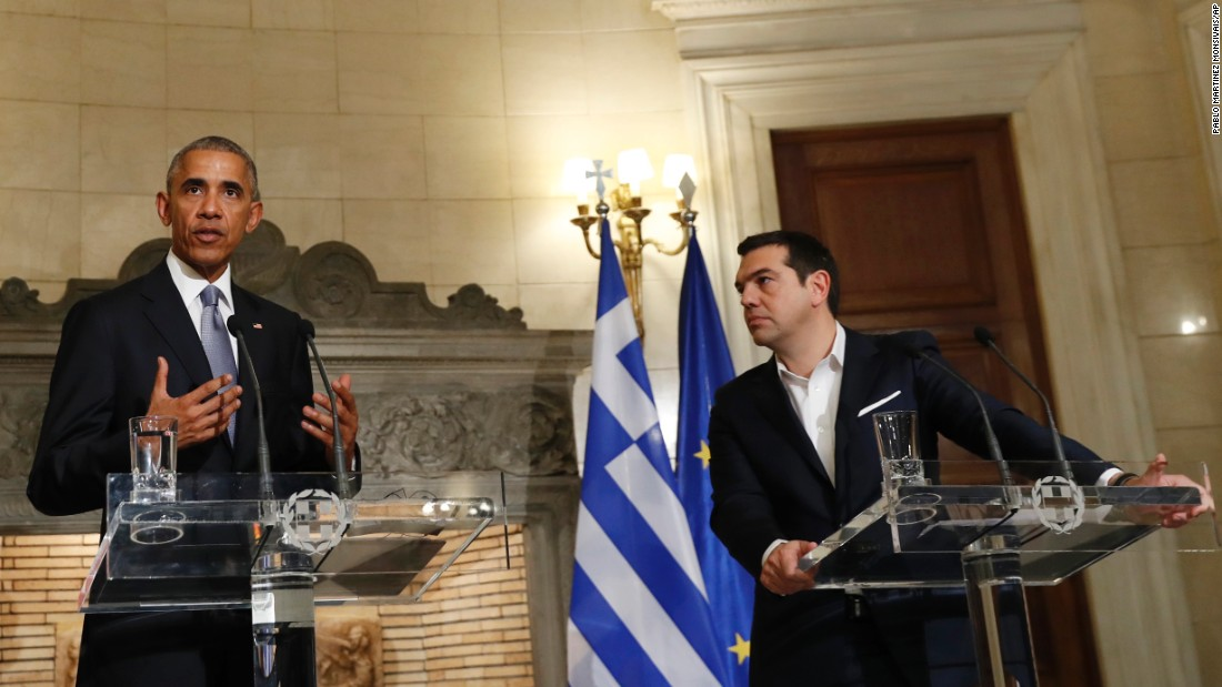 Obama and Greek Prime Minister Alexis Tsipras field questions at a joint news conference in Athens on November 15.