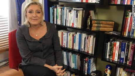 Marine Le Pen, leader of France's far-right Front National party, at her office in Nanterre, near Paris.