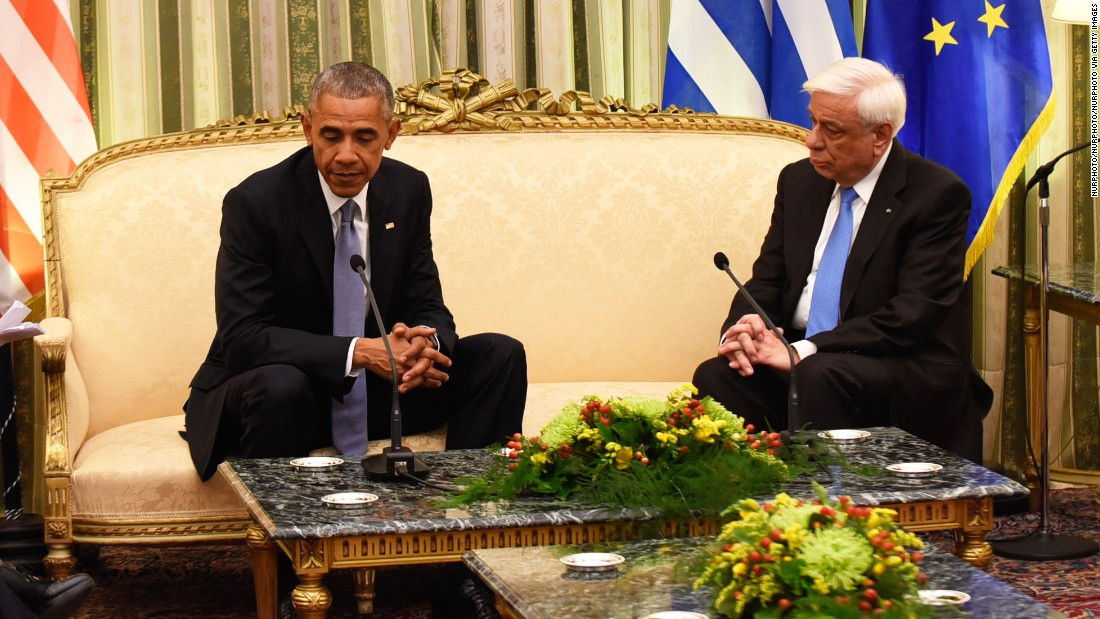 "Obama meets with Greek President Prokopis Pavlopoulos at the presidential mansion in Athens on Tuesday, November 15. <a href=""http://www.cnn.com/2016/11/15/politics/obama-greece-news-conference/index.html"">Obama called Greece a ""reliable ally""</a> in its commitment to NATO, even as the country faces tremendous strain from its debt crisis."