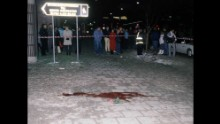 A photo from February 28, 1986, shows the place where Olof Palme was killed in central Stockholm.