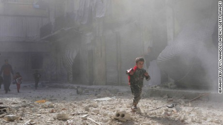 A child in the aftermath of regime airstrikes in the Salaheddin neighborhood of Aleppo.