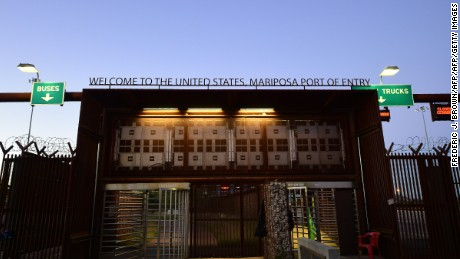 The United States Mariposa port of entry as approached from Nogales, Sonora, Mexico on October 11, 2016, near where nonprofit organization BorderLinks runs a canteen to help deported migrants returning across the border from the US.  BorderLinks is a nonprofit organization based in Tucson, Arizona that connects people to the reality of the US-Mexico Borderlands and immigrant communities in the United States. / AFP / Frederic J. BROWN        (Photo credit should read FREDERIC J. BROWN/AFP/Getty Images)