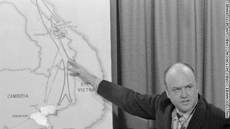 During a news briefing at the Pentagon, Secretary of Defense Melvin Laird points to a location in Laos on a map of Indochina. (Photo by © Wally McNamee/CORBIS/Corbis via Getty Images)