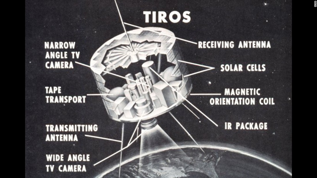 Two television cameras housed inside the TIROS weather satellite captured images and sent them back via antennas as it orbited the globe.