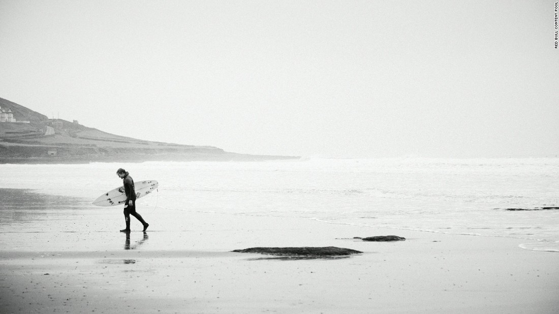 But he relishes returning home and surfing his home waters in Croyde on the north Devon coast in England.