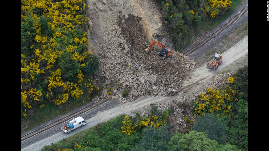 "A rail line in Kaikoura, New Zealand, is covered by landslide debris after <a href=""http://www.cnn.com/2016/11/14/asia/new-zealand-earthquake/"" target=""_blank"">a 7.8-magnitude earthquake</a> on Monday, November 14."