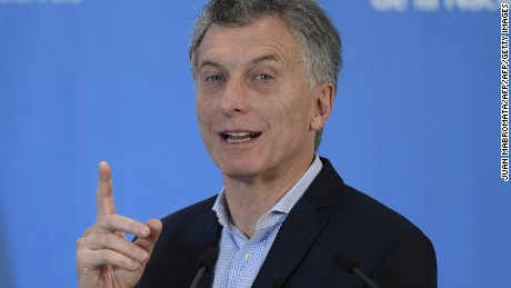 Argentina's President Mauricio Macri gestures during a press conference held along with his Uruguayan counterpart Tabare Vazquez after a working meeting at the presidential residence in Olivos, Buenos Aires, on October 24, 2016. / AFP / Juan MABROMATA        (Photo credit should read JUAN MABROMATA/AFP/Getty Images)