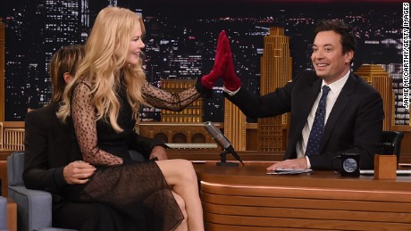 "Keith Urban, Nicole Kidman and host Jimmy Fallon during a segment on ""The Tonight Show Starring Jimmy Fallon"" on November 16 in New York City."