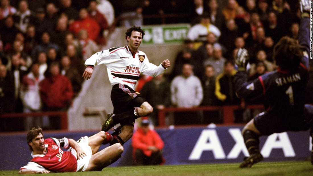 Few players can boast a more glittering career than Ryan Giggs. Despite an overflowing personal trophy cabinet, Giggs' defining career moment came in the 1999 FA Cup semifinal replay. The Welshman weaved his way through five Arsenal players and ripped a shot past David Seaman, before whipping his shirt off and whirling it over his head in celebration.