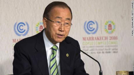 Ban Ki-moon, the UN Secretary-General, speaks at the UN World Climate Change Conference 2016