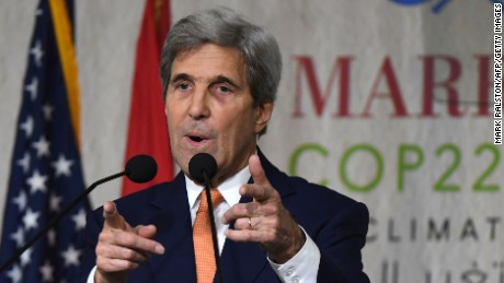 US Secretary of State John Kerry gives his speech at the COP22 climate change conference