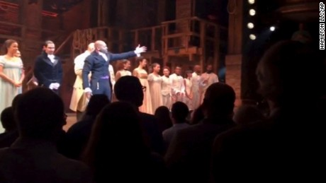 "In this image made from a video provided by Hamilton LLC, actor Brandon Victor Dixon who plays Aaron Burr, the nation's third vice president, in ""Hamilton"" speaks from the stage after the curtain call in New York, November 18. Vice President-elect Mike Pence is the latest celebrity to attend the Broadway hit ""Hamilton,"" but the first to get a sharp message from a cast member from the stage."
