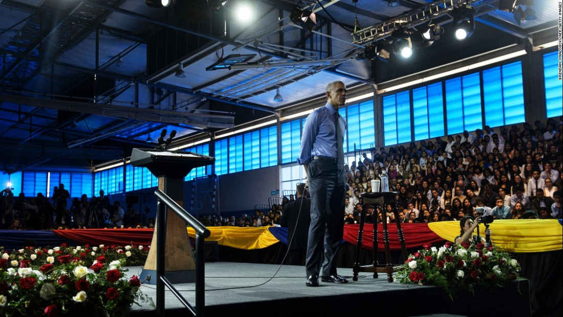 Obama takes a question during the town-hall meeting, which took place on Saturday, November 19.
