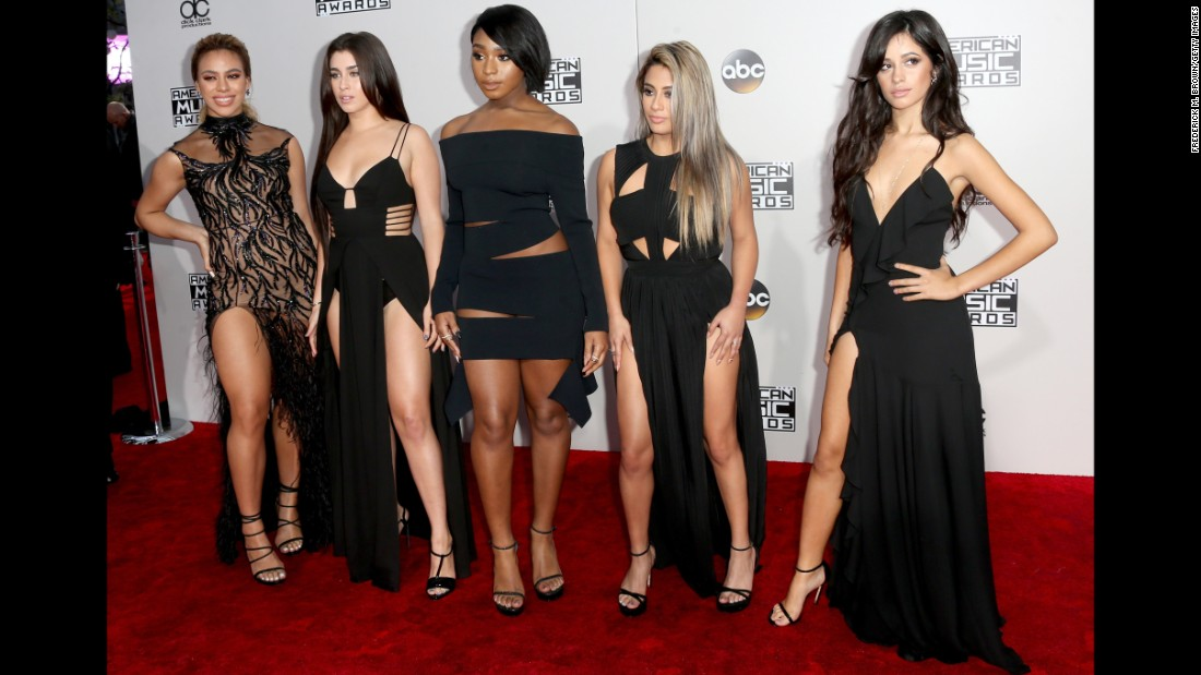 Dinah Jane , Lauren Jauregui, Normani Kordei, Ally Brooke and Camila Cabello of musical group Fifth Harmony arrive for the 2016 American Music Awards on Sunday, November 20, in Los Angeles.