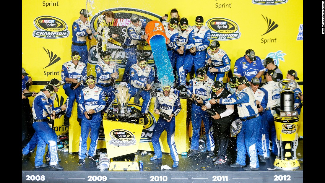 NASCAR driver Jimmie Johnson is doused with Gatorade after winning his seventh Sprint Cup title on Sunday, November 20. Johnson ties Richard Petty and Dale Earnhardt for the most championships on NASCAR's top circuit.