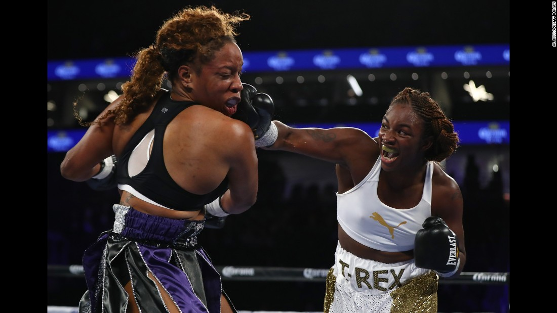 Claressa Shields lands a right hand against Franchon Crews during their super-middleweight bout in Las Vegas on Saturday, November 19. Shields, a two-time Olympic gold medalist making her pro debut, won by unanimous decision.