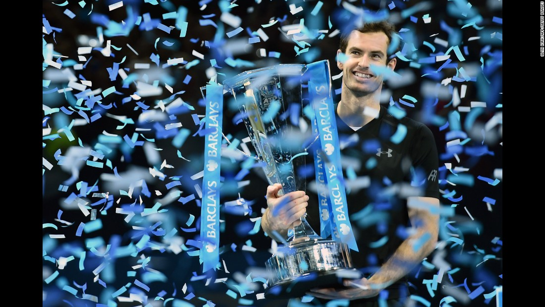 "Andy Murray, the world's No. 1 tennis player, holds his trophy after <a href=""http://www.cnn.com/2016/11/20/tennis/murray-djokovic-atp-finals-world-no-1/index.html"" target=""_blank"">winning the ATP World Tour Finals</a> in London on Sunday, November 20. Murray defeated former No. 1 Novak Djokovic 6-3, 6-4."
