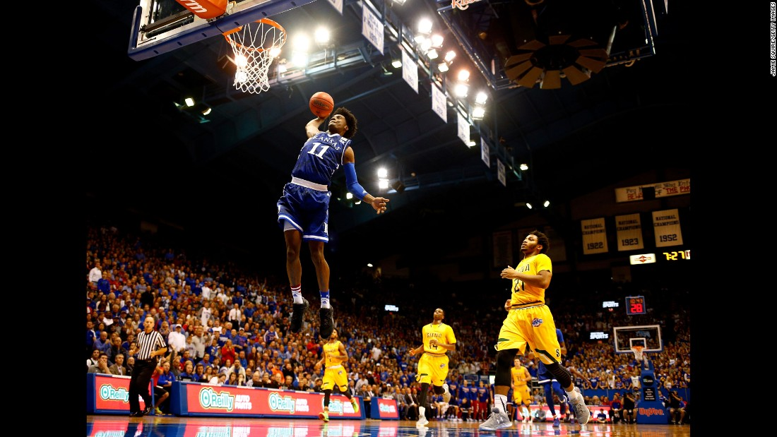Kansas' Josh Jackson dunks the ball during a home game against Siena on Friday, November 18.