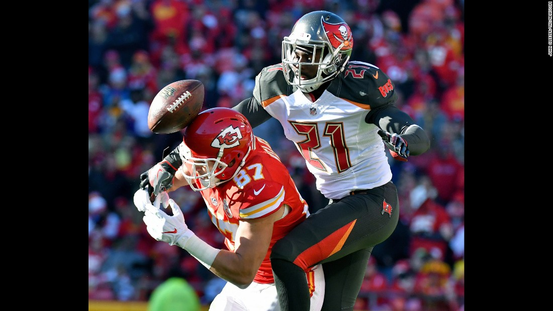 Tampa Bay cornerback Alterraun Verner, right, breaks up a pass intended for Kansas City tight end Travis Kelce during an NFL game in Kansas City, Missouri, on Sunday, November 20.
