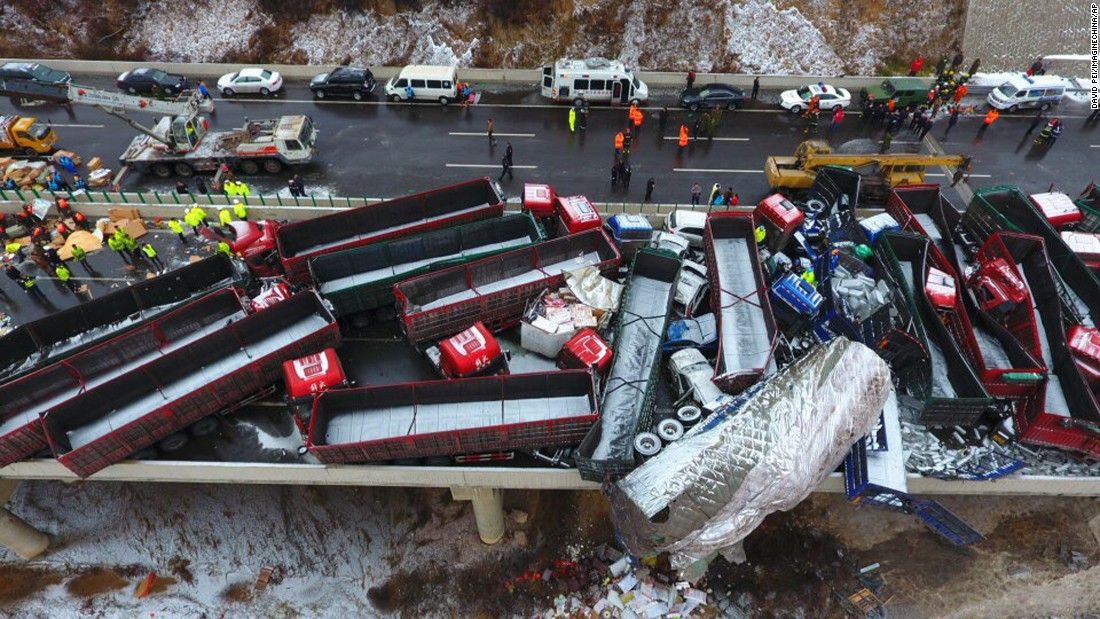 56-car pileup in China leaves 17 people dead