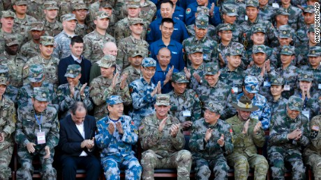 US and Chinese troops gather for a photo during their joint exercise.