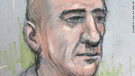 Court artist sketch of Stephen Port. Port has been found guilty at the Old Bailey of the murder of Gabriel Kovari.