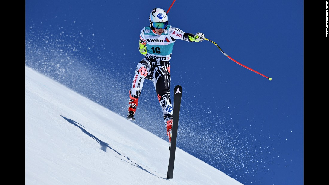 Tina Weirather, a skier from Liechtenstein, races during the World Cup event in St. Moritz, Switzerland, on Thursday, March 17. She finished first in the super-G -- her second World Cup victory of the season.