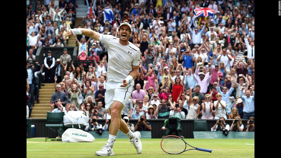 "Andy Murray celebrates after defeating Milos Raonic in <a href=""http://www.cnn.com/2016/07/10/tennis/andy-murray-wimbledon-milos-raonic/index.html"" target=""_blank"">the Wimbledon final</a> on Sunday, July 10. It was his third Grand Slam title."