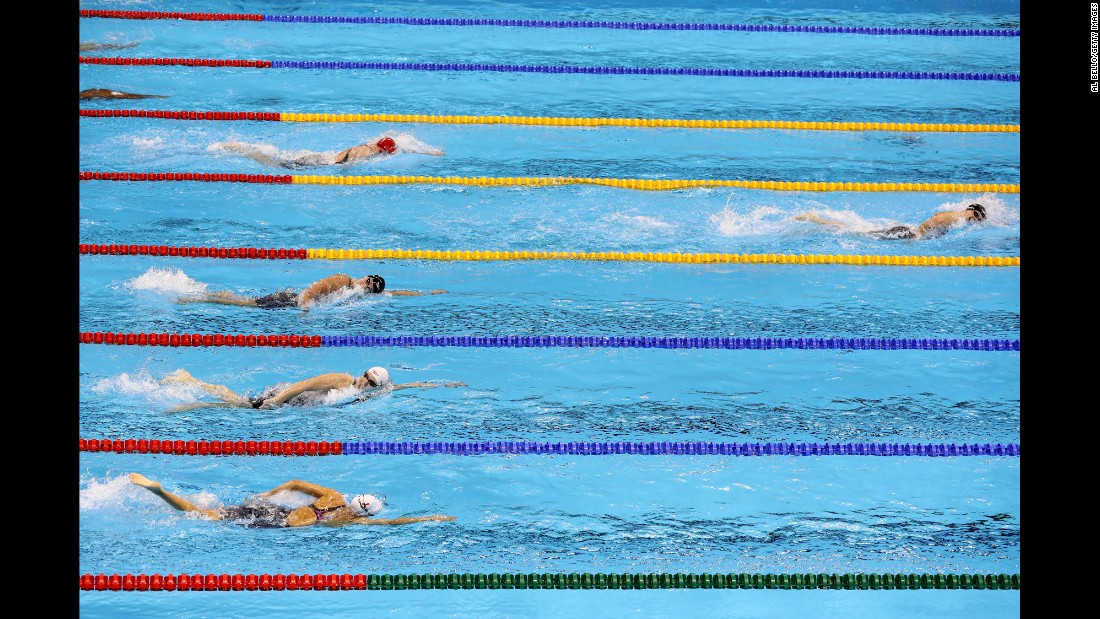 "US swimmer Katie Ledecky blows away the field in the Olympic final of the 400-meter freestyle on Sunday, August 7. The 19-year-old <a href=""http://www.cnn.com/2016/08/07/sport/michael-phelps-katie-ledecky-rio/"" target=""_blank"">smashed her own world record</a> to win in 3:56.46 -- nearly five seconds ahead of her closest rival."