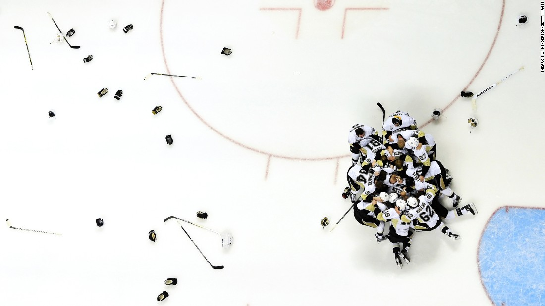 The Pittsburgh Penguins celebrate Sunday, June 12, after winning the Stanley Cup Final in San Jose, California. The Penguins defeated San Jose in six games for their fourth title in franchise history.