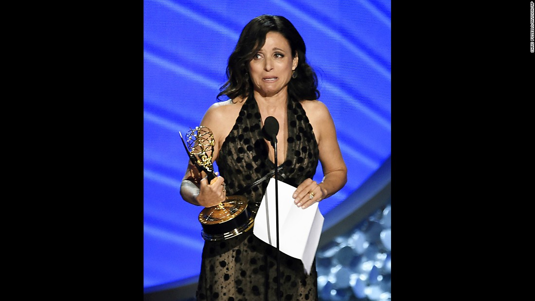 "Julia Louis-Dreyfus accepts the Emmy Award for outstanding lead actress in a comedy series on Sunday, September 18. The ""Veep"" star <a href=""http://www.cnn.com/2016/09/18/entertainment/emmy-awards-2016/"" target=""_blank"">dedicated her win to her father,</a> who she said died a few days earlier."