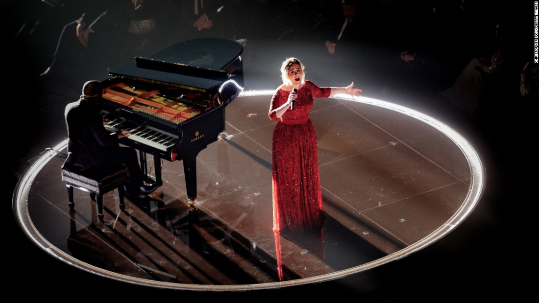 "Adele sings on stage during the Grammy Awards on Monday, February 15. Early into her live rendition of the ballad ""All I Ask,"" it was clear that <a href=""http://www.cnn.com/2016/02/16/entertainment/adele-grammys-performance-feat/"" target=""_blank"">something was wrong.</a> A clanking sound could be heard in the background as she sang, her microphone cut out briefly and her voice didn't have its usual punch. The singer looked distracted, flashing irritated looks as she powered through the song. The singer offered an explanation afterward on Twitter, saying, ""The piano mics fell on to the piano strings, that's what the guitar sound was. It made it sound out of tune. S--- happens."""