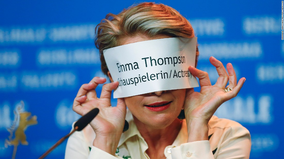 "Actress Emma Thompson attends a news conference in Berlin to promote the movie ""Alone in Berlin"" on Monday, February 15."