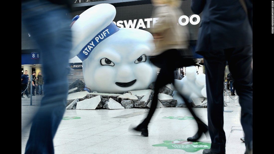 "The Stay Puft Marshmallow Man, a character from the ""Ghostbusters"" films, is seen at London's Waterloo Station on Monday, July 11. It was a promotional display for the 2016 reboot."