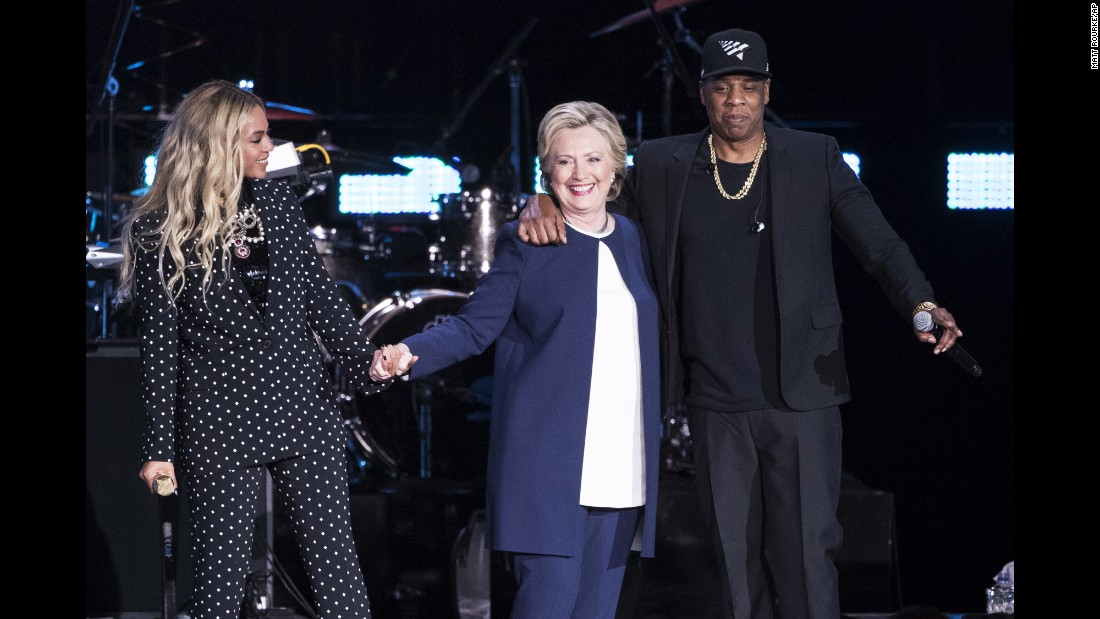 "Democratic presidential candidate Hillary Clinton appears on stage with musical artists Jay Z and Beyonce during <a href=""http://www.cnn.com/2016/11/04/politics/hillary-clinton-jay-z-beyonce-big-sean-chance-the-rapper/index.html"" target=""_blank"">a campaign rally</a> in Cleveland on Friday, November 4."